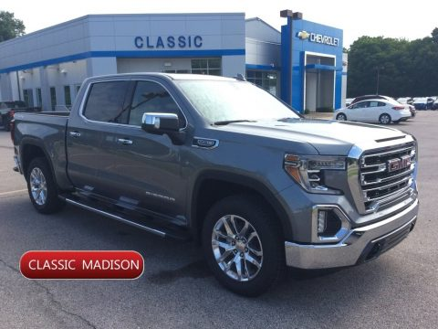 Satin Steel Metallic GMC Sierra 1500 SLT Crew Cab 4WD.  Click to enlarge.