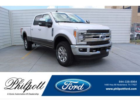 White Platinum Ford F250 Super Duty King Ranch Crew Cab 4x4.  Click to enlarge.