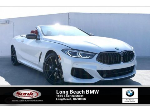 Mineral White Metallic BMW 8 Series 850i xDrive Convertible.  Click to enlarge.