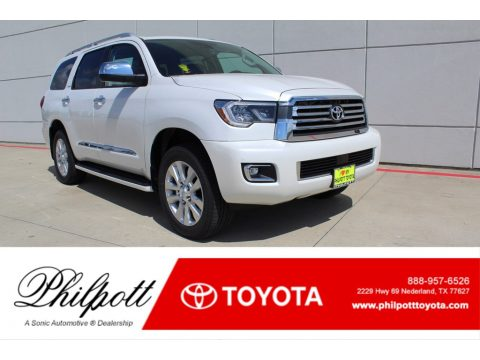 Blizzard White Pearl Toyota Sequoia Platinum 4x4.  Click to enlarge.