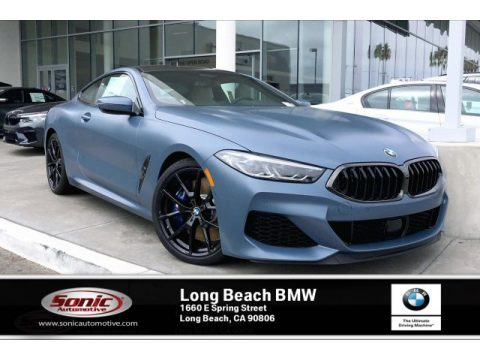 Frozen Barcelona Blue Metallic BMW 8 Series 850i xDrive Coupe.  Click to enlarge.