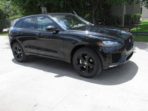 Santorini Black Metallic Jaguar F-PACE 25t Checkered Flag Edition.  Click to enlarge.