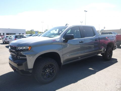Satin Steel Metallic Chevrolet Silverado 1500 LT Trail Boss Crew Cab 4x4.  Click to enlarge.