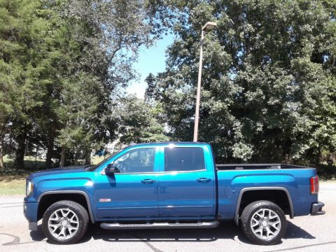 Stone Blue Metallic GMC Sierra 1500 SLT Crew Cab 4WD.  Click to enlarge.