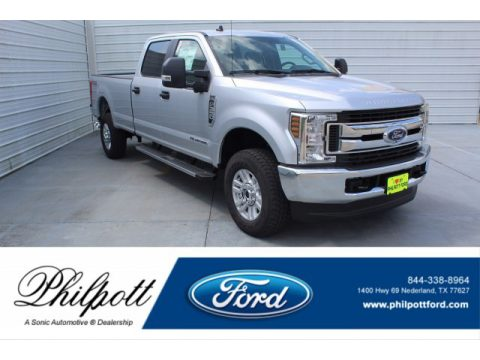 Ingot Silver Ford F350 Super Duty XLT Crew Cab 4x4.  Click to enlarge.
