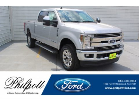 Ingot Silver Ford F250 Super Duty Lariat Crew Cab 4x4.  Click to enlarge.