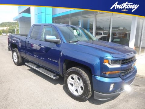 Deep Ocean Blue Metallic Chevrolet Silverado LD LT Double Cab 4x4.  Click to enlarge.