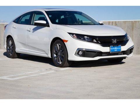 Platinum White Pearl Honda Civic EX-L Sedan.  Click to enlarge.