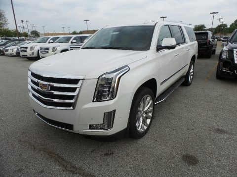 Crystal White Tricoat Cadillac Escalade ESV Luxury.  Click to enlarge.