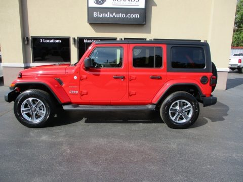 Firecracker Red Jeep Wrangler Unlimited Sahara 4x4.  Click to enlarge.