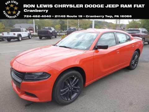 Go Mango Dodge Charger SXT AWD.  Click to enlarge.