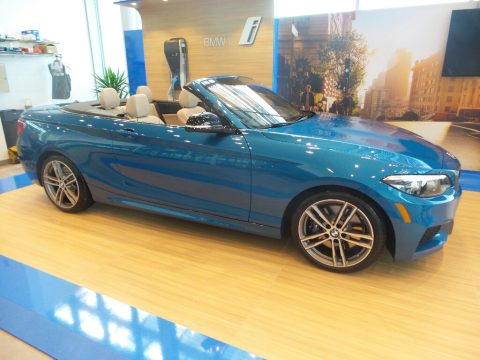 Long Beach Blue Metallic BMW 2 Series M240i xDrive Convertible.  Click to enlarge.