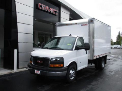 Summit White GMC Savana Cutaway 3500 Commercial Moving Truck.  Click to enlarge.