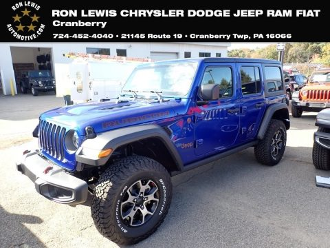 Ocean Blue Metallic Jeep Wrangler Unlimited Rubicon 4x4.  Click to enlarge.