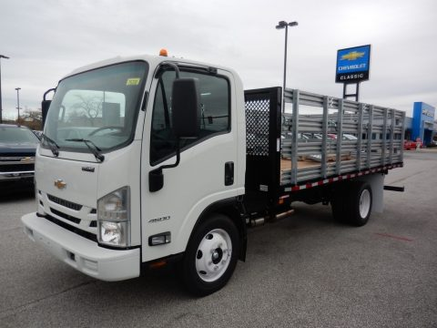 Arctic White Chevrolet Low Cab Forward 4500 Stake Truck.  Click to enlarge.