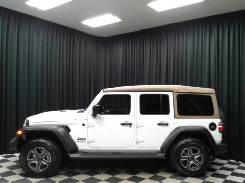 Bright White Jeep Wrangler Unlimited Sport 4x4.  Click to enlarge.