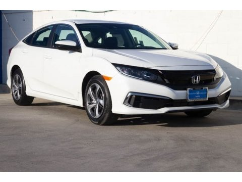 Platinum White Pearl Honda Civic LX Sedan.  Click to enlarge.