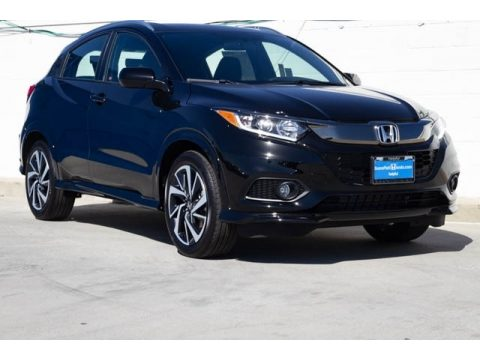 Crystal Black Pearl Honda HR-V Sport.  Click to enlarge.