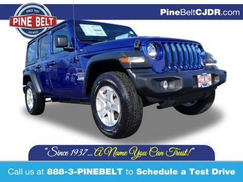 Ocean Blue Metallic Jeep Wrangler Unlimited Sport 4x4.  Click to enlarge.
