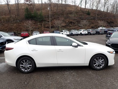 Snowflake White Pearl Mica Mazda MAZDA3 Sedan.  Click to enlarge.