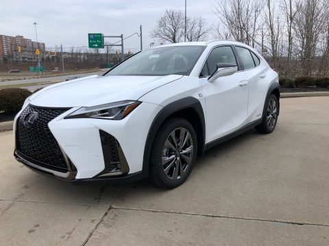 Ultra White Lexus UX 250h F Sport AWD.  Click to enlarge.