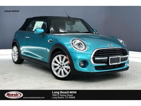 Caribbean Aqua Metallic Mini Convertible Cooper.  Click to enlarge.