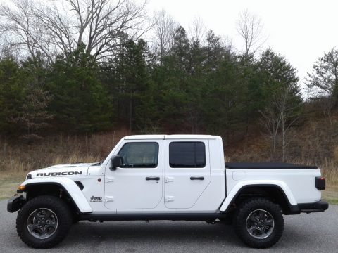 Bright White Jeep Gladiator Rubicon 4x4.  Click to enlarge.