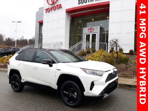 Blizzard White Pearl Toyota RAV4 XSE AWD Hybrid.  Click to enlarge.