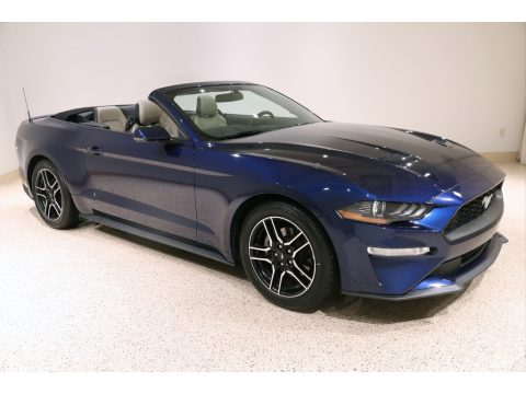 Kona Blue Ford Mustang EcoBoost Premium Convertible.  Click to enlarge.