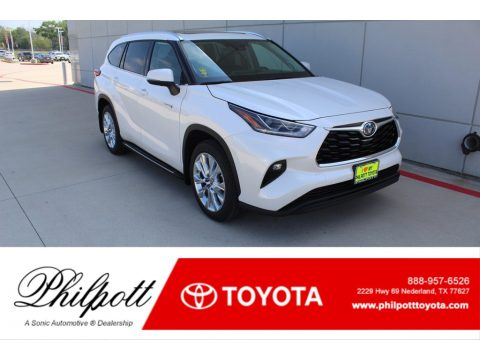Blizzard White Pearl Toyota Highlander Hybrid Limited.  Click to enlarge.
