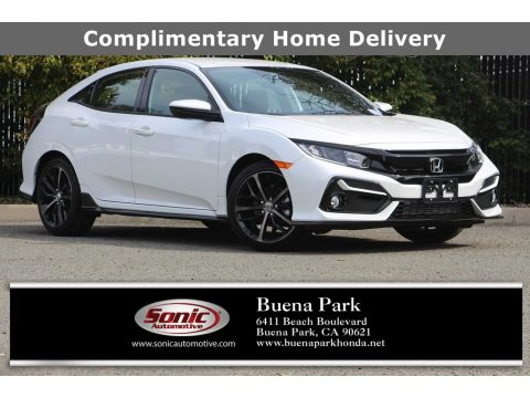 Platinum White Pearl Honda Civic Sport Hatchback.  Click to enlarge.
