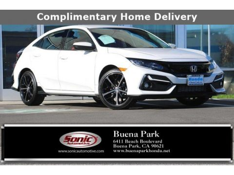 Platinum White Pearl Honda Civic Sport Hatchback.  Click to enlarge.