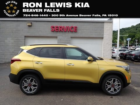 Starbright Yellow Kia Seltos SX Turbo AWD.  Click to enlarge.