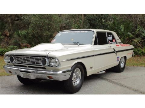 White Ford Fairlane 500 Thunderbolt Coupe.  Click to enlarge.