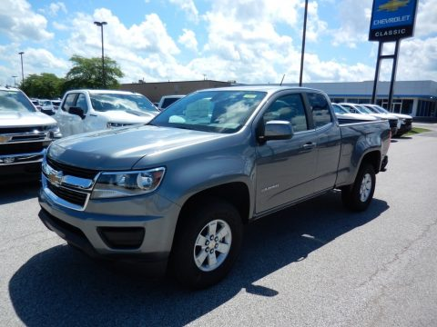 Satin Steel Metallic Chevrolet Colorado WT Extended Cab 4x4.  Click to enlarge.