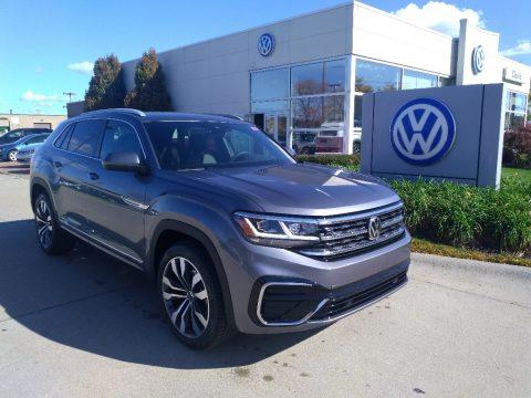 Platinum Gray Metallic Volkswagen Atlas Cross Sport SEL R-Line 4Motion.  Click to enlarge.