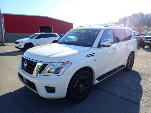 Pearl White Tricoat Nissan Armada Platinum 4x4.  Click to enlarge.