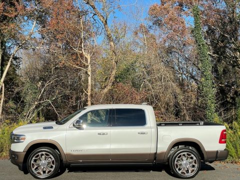 Ivory White Tri-Coat Pearl Ram 1500 Long Horn Crew Cab 4x4.  Click to enlarge.