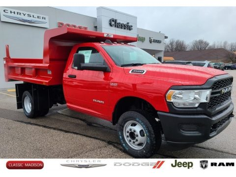 Flame Red Ram 3500 Tradesman Regular Cab 4x4 Dump Truck.  Click to enlarge.