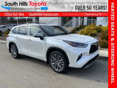 Blizzard White Pearl Toyota Highlander Platinum AWD.  Click to enlarge.