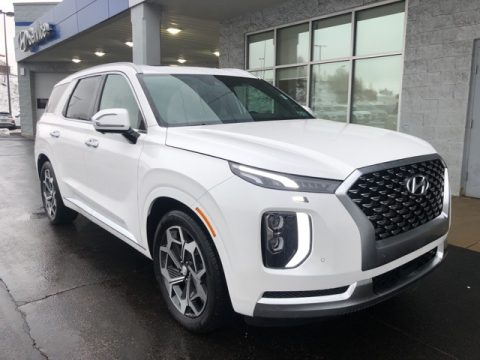 Hyper White Hyundai Palisade Calligraphy AWD.  Click to enlarge.
