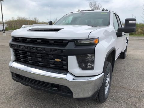 Summit White Chevrolet Silverado 2500HD Work Truck Double Cab Utility.  Click to enlarge.