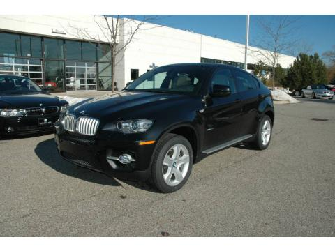 Black Sapphire Metallic 2009 BMW X6 xDrive50i with Sand Beige Perforated