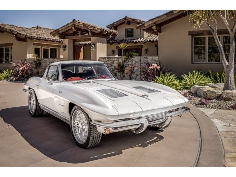 Custom Pearl White Chevrolet Corvette Sting Ray Coupe.  Click to enlarge.