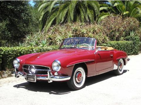 Red Mercedes-Benz SL Class 190 SL Roadster.  Click to enlarge.