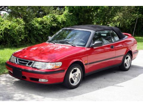 Imola Red 1999 Saab 9-3 Convertible with Medium Gray interior Imola Red Saab