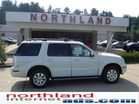 White Suede 2010 Mercury Mountaineer V6 AWD with Camel interior White Suede