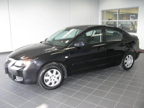Black Mica 2008 Mazda MAZDA3 i Sport Sedan with Black interior Black Mica
