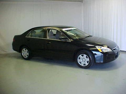 Nighthawk Black Pearl 2006 Honda Accord LX Sedan with Ivory interior