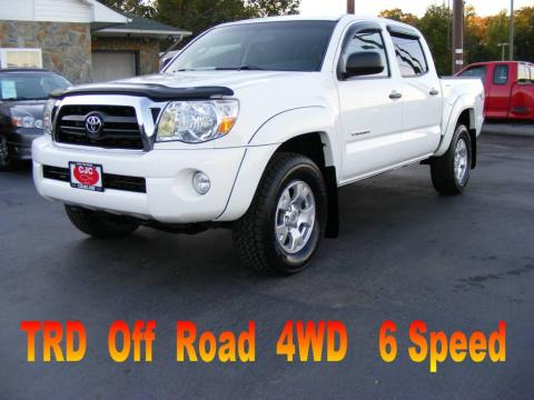 Super White 2006 Toyota Tacoma TRD Double Cab 4x4 with Graphite Gray